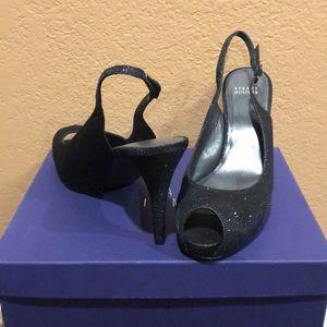 Shiny peep toe straps heel